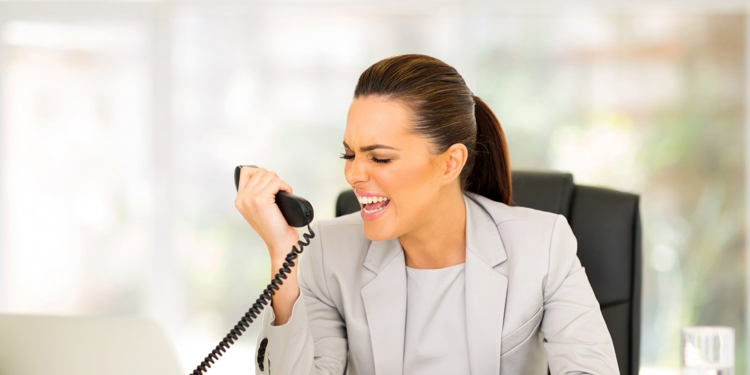 Woman shouting on phone