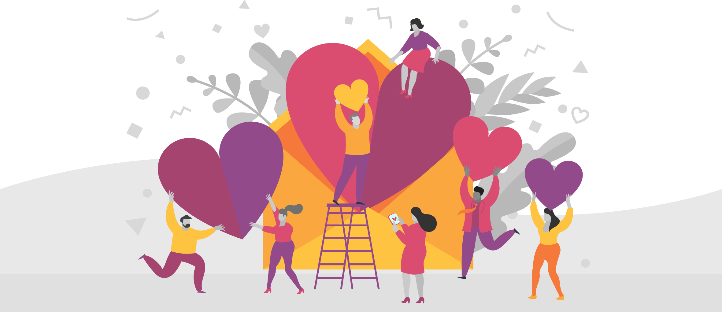 Illustration of a group of people holding hearts