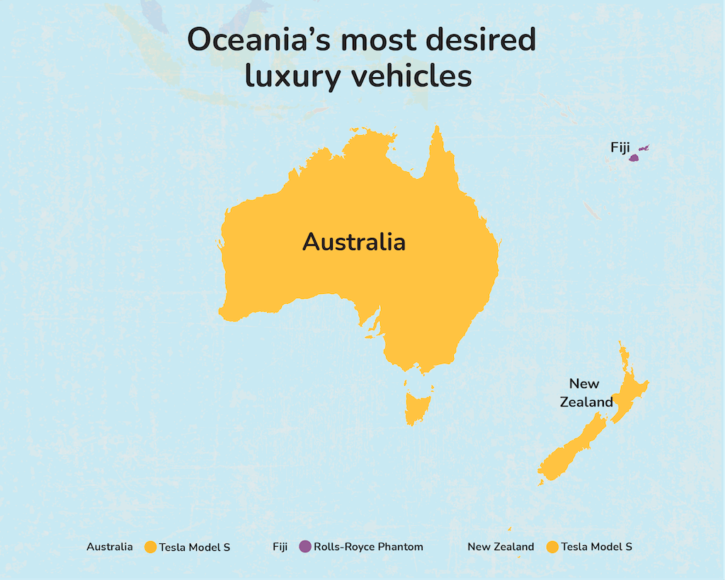 Map graphic - Oceania's most desired luxury vehicle.