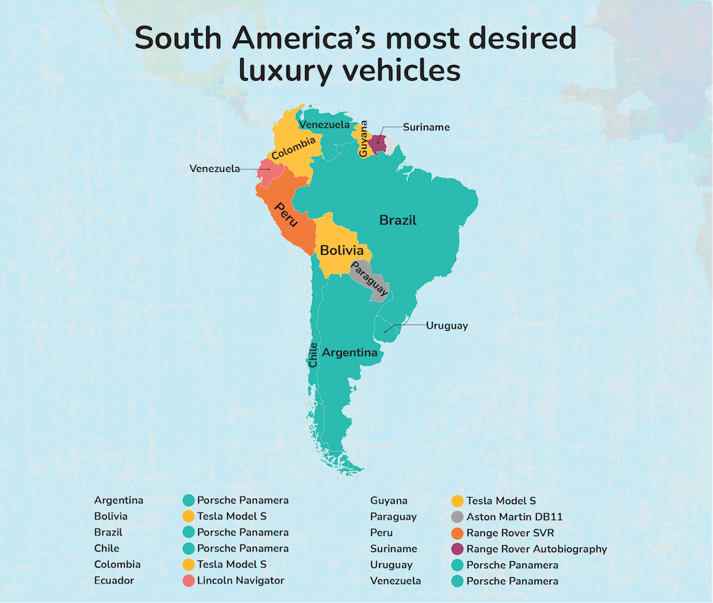 Map graphic - South America's most desired luxury vehicle.