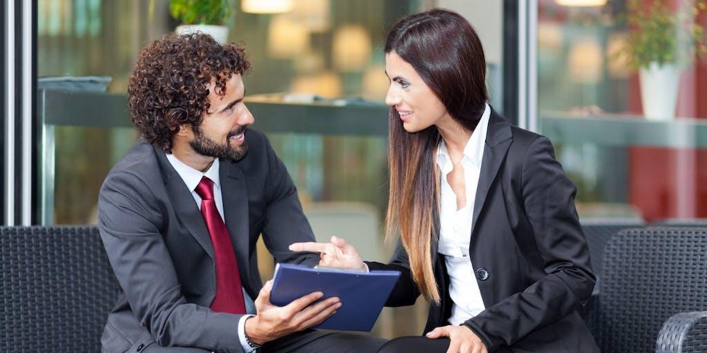 Financial advisor speaking to investor