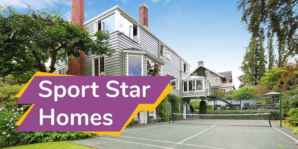 Photograph of a house with a tennis court and overlay text reading Sport Star Homes