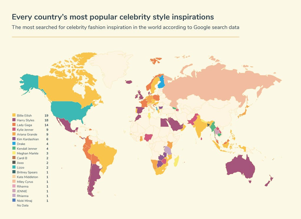 World map of most popular celebrity style inspirations