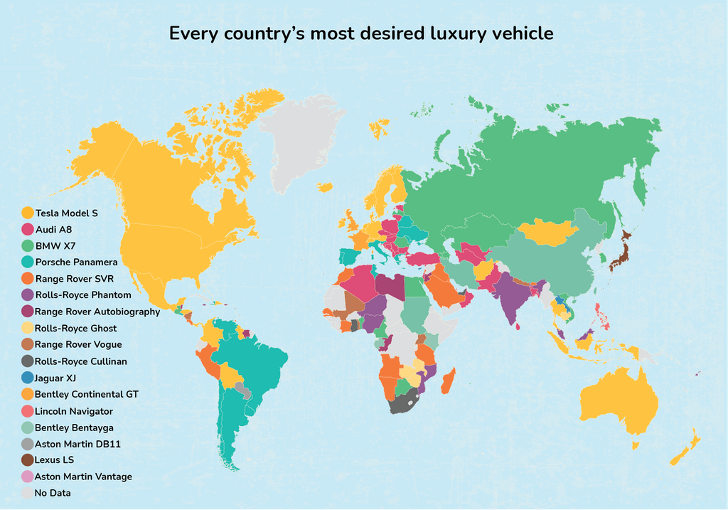 A map showing every country's most desired luxury car.