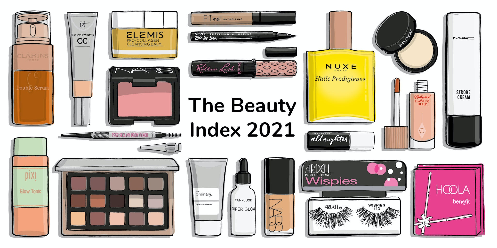An illustration of different beauty products.