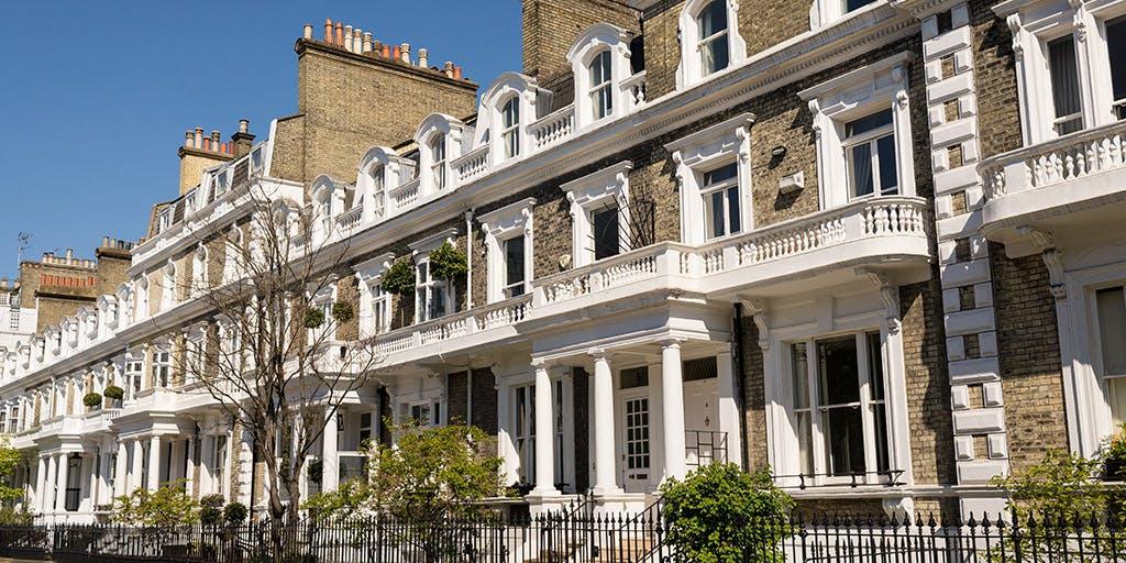Row of restored elegant Victorian houses