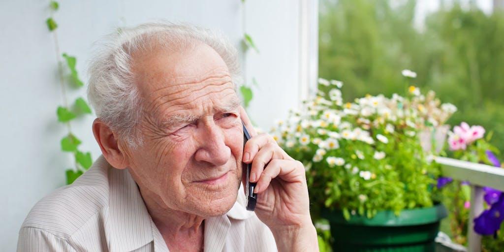 Older man on phone