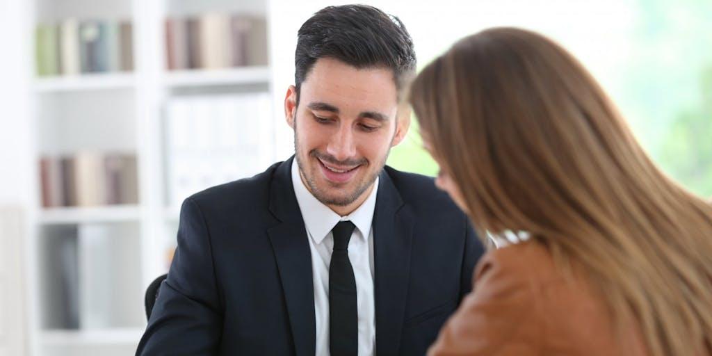 Women meeting bank manager