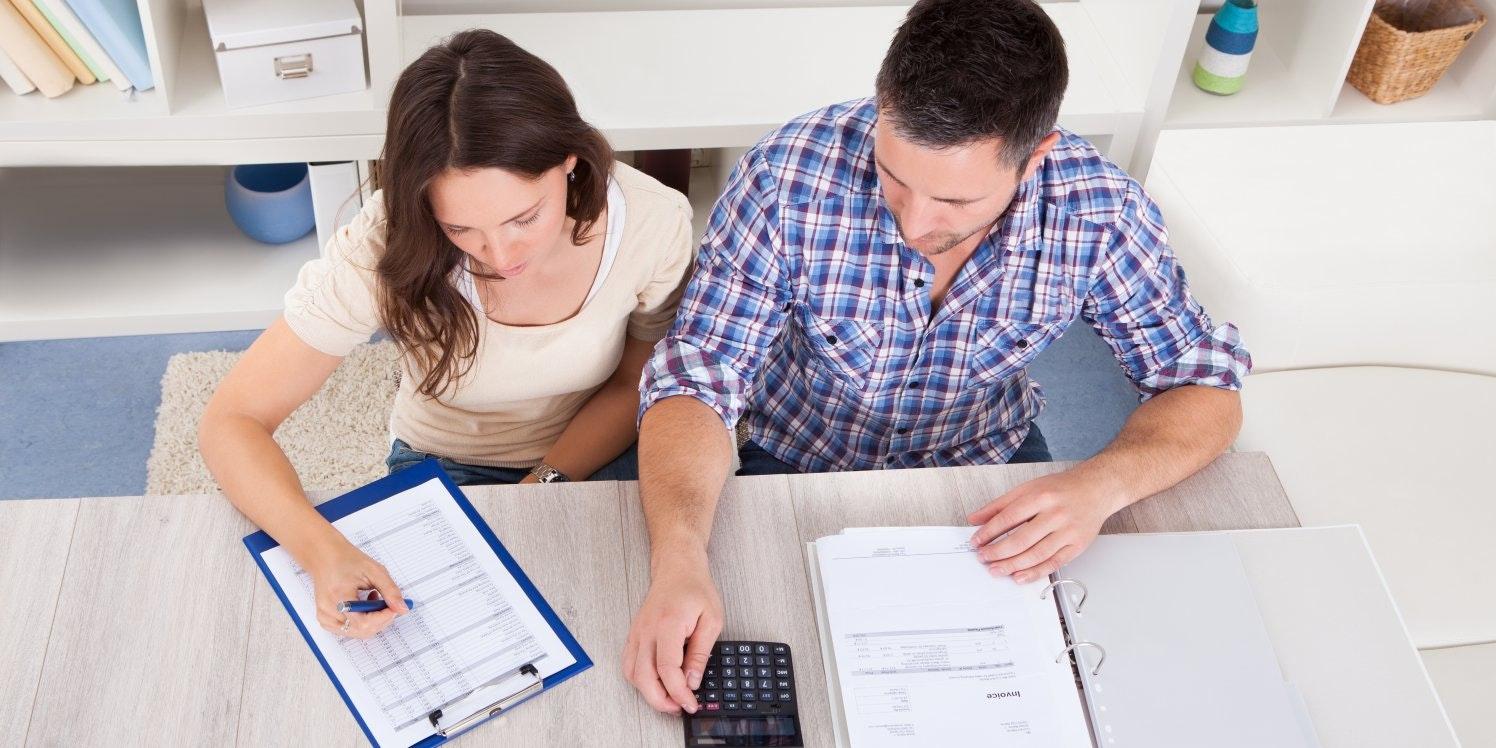 Couple doing bills