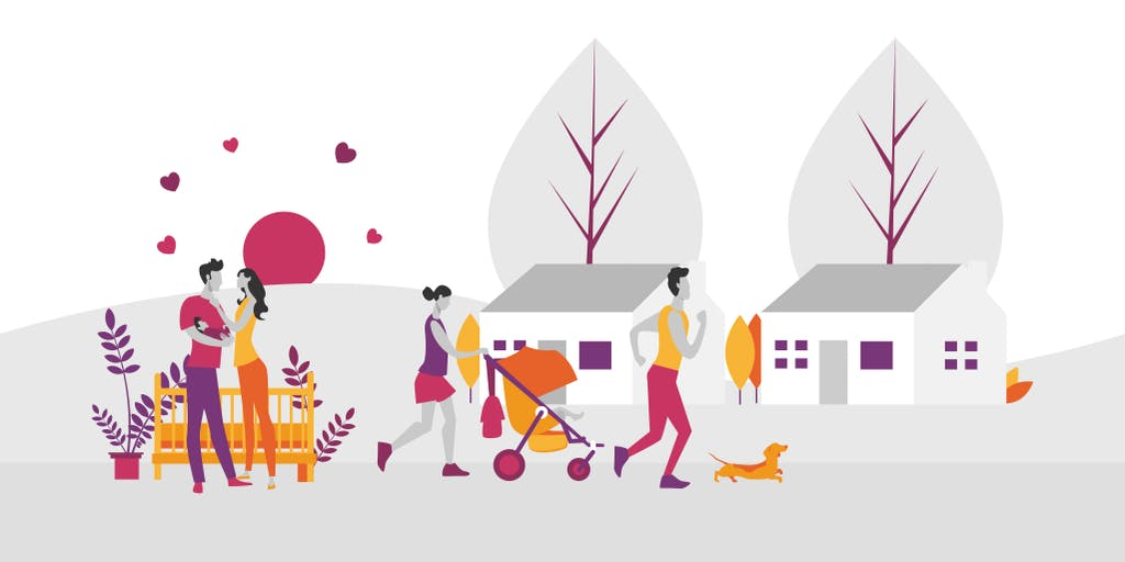 Illustration of two couples. One with a baby in their arms and one with a pram and a dog.