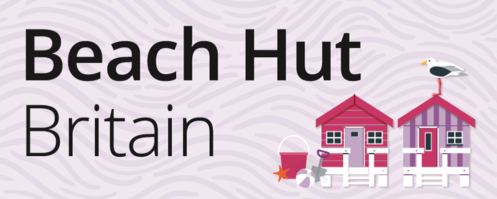 A graphic of beach huts with a seagull on top alongside a title which reads: Beach Hut Britain.