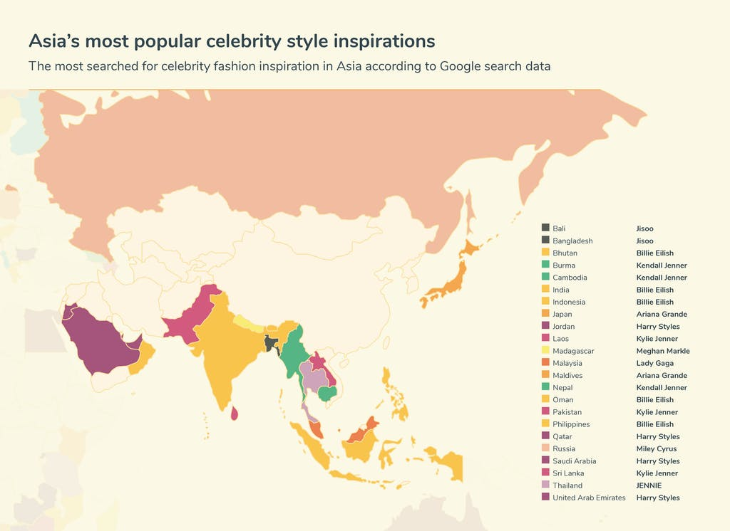 Map of Asia's celebrity inspiration searches