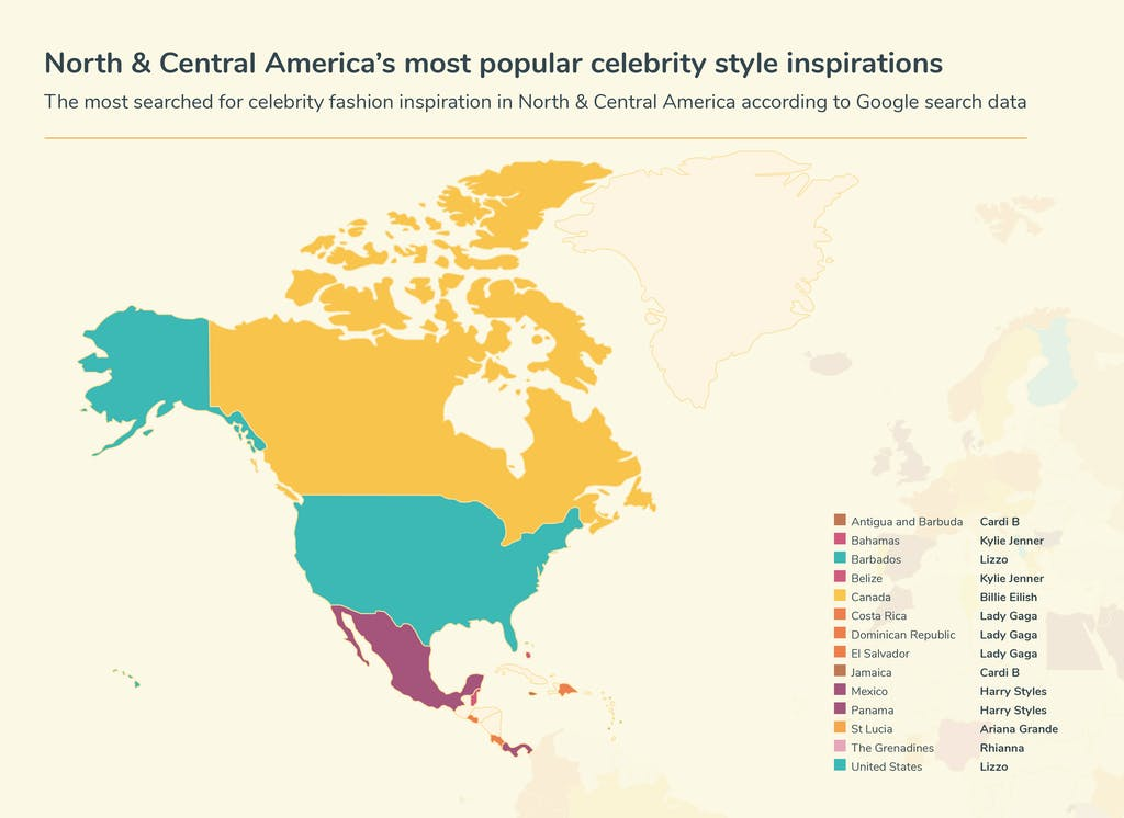 Map of North and Central America's celebrity inspiration searches
