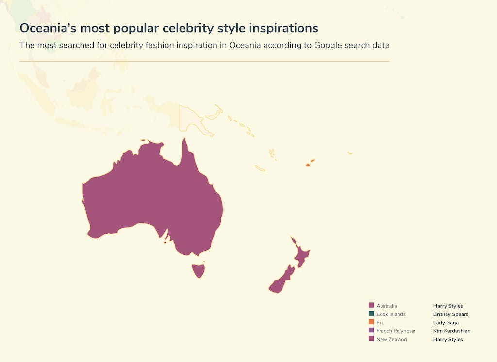 Map of Oceana's celebrity inspiration searches