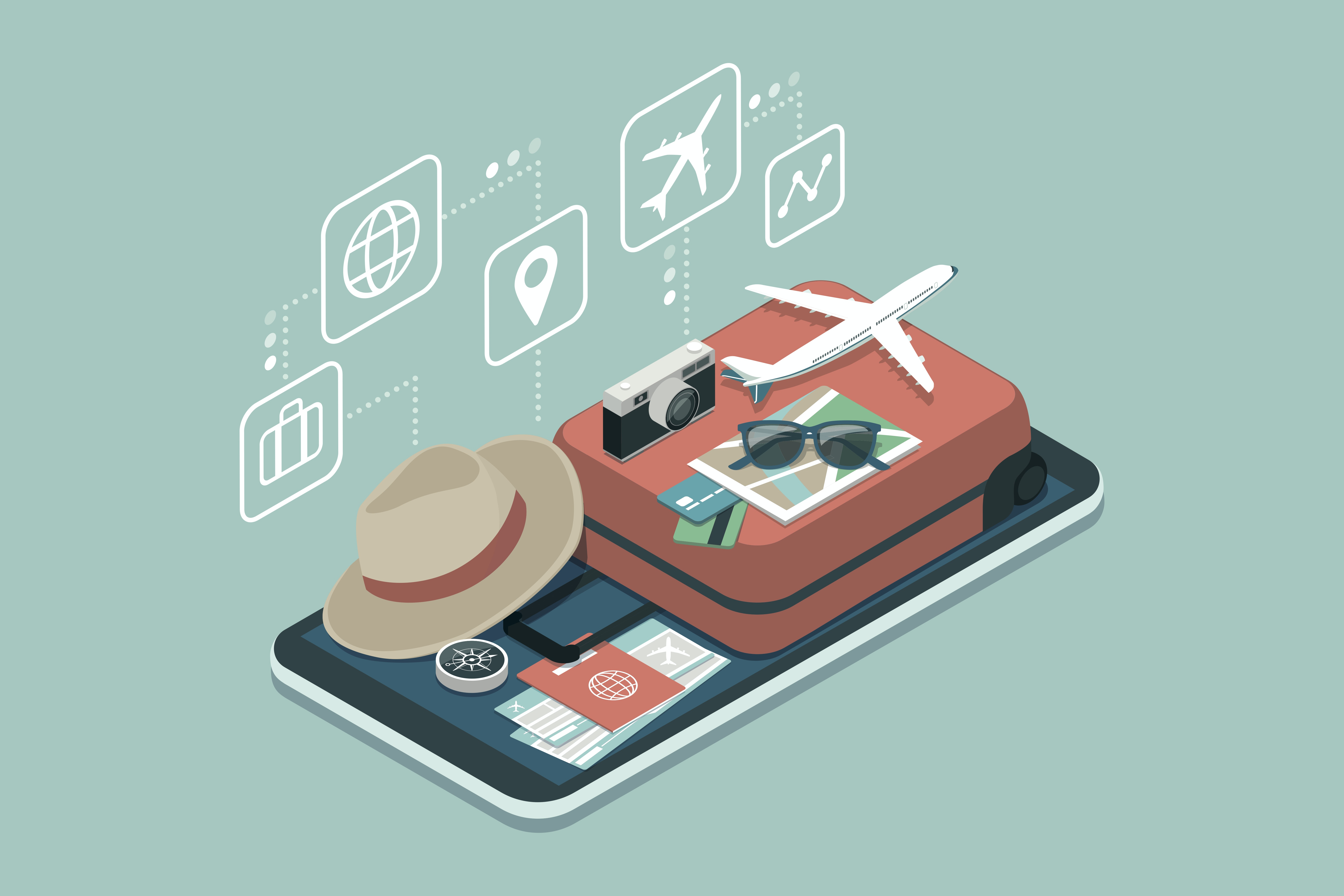 An illustration of a suitcase along with a passport, hat, camera, sunglasses and model aeroplane.