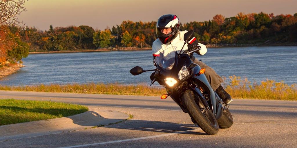 Motorbike going around corner