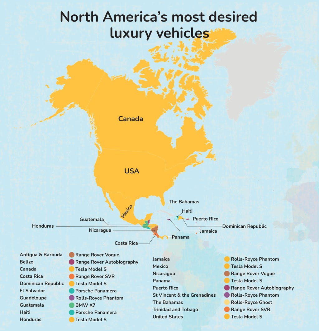 Map graphic - North America's most desired luxury vehicle.