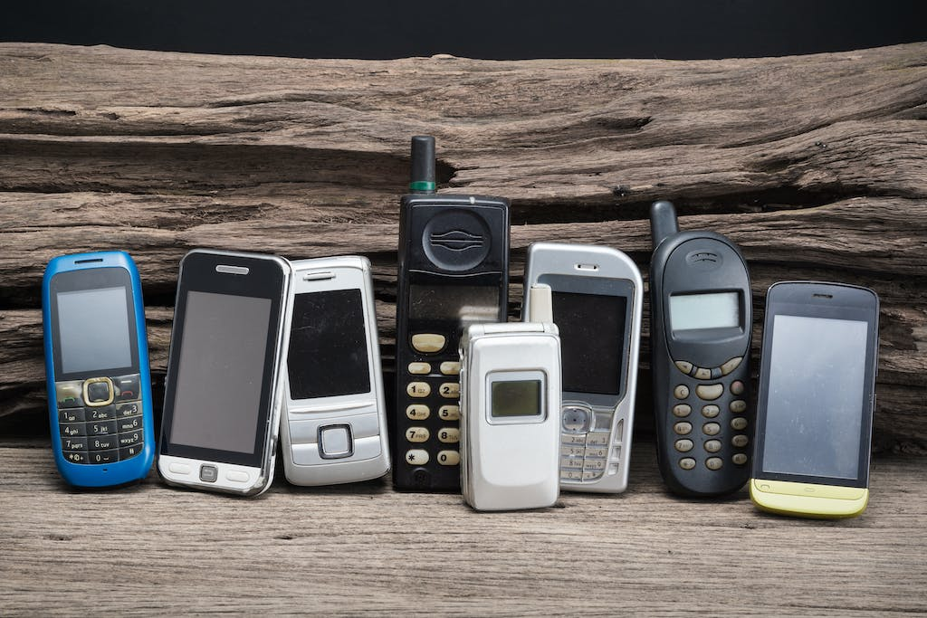 Lineup of old mobile phones