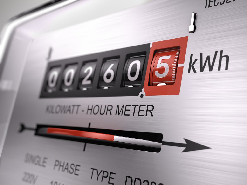 Close-up of electricity meter