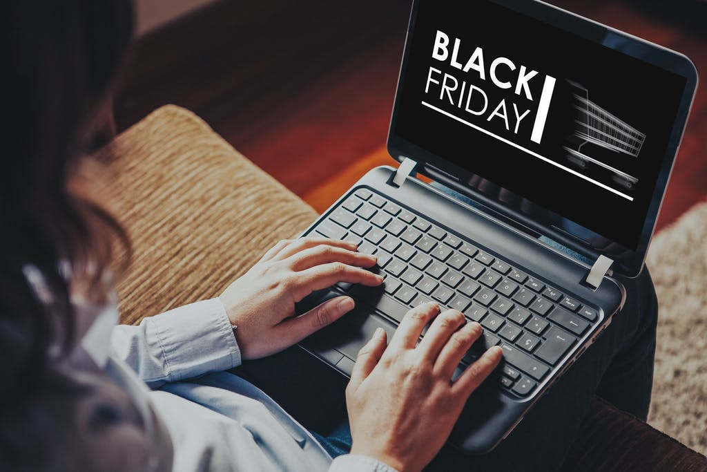 Image of laptop with Black Friday written on in black