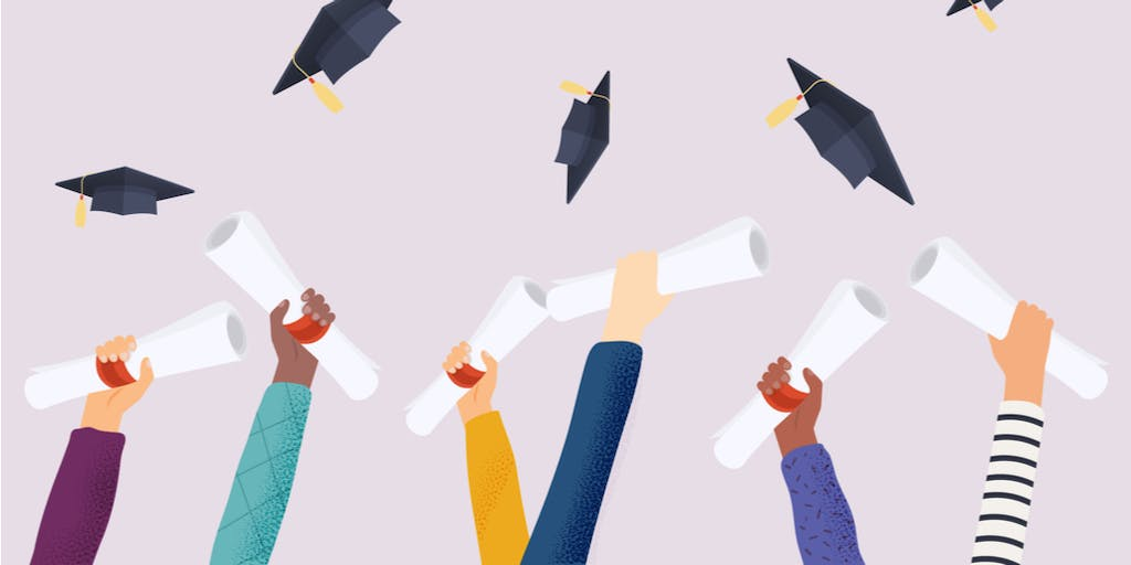 A graphic of hands holding degrees and graduation hats in the air.