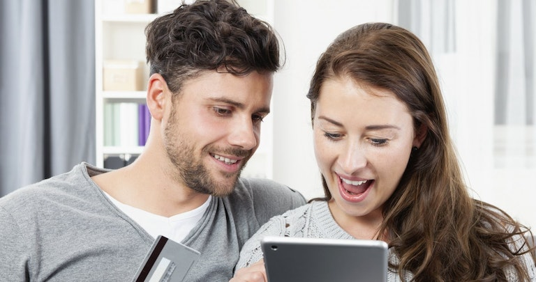 Young couple switching energy supplier