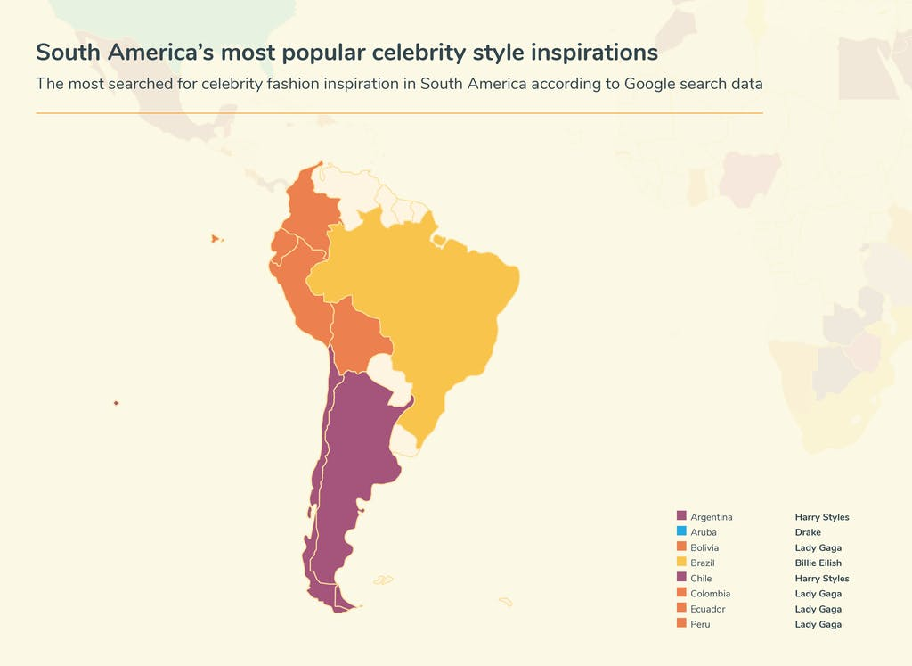 Map of South America's celebrity inspiration searches