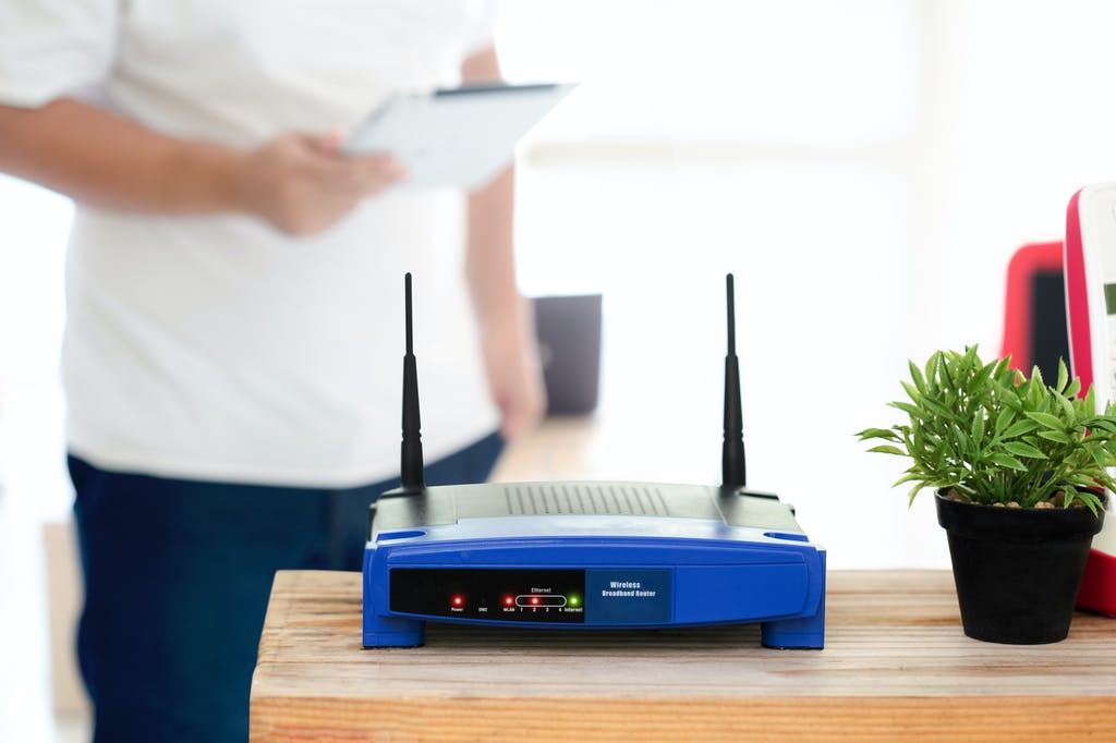 Closeup of a wireless router