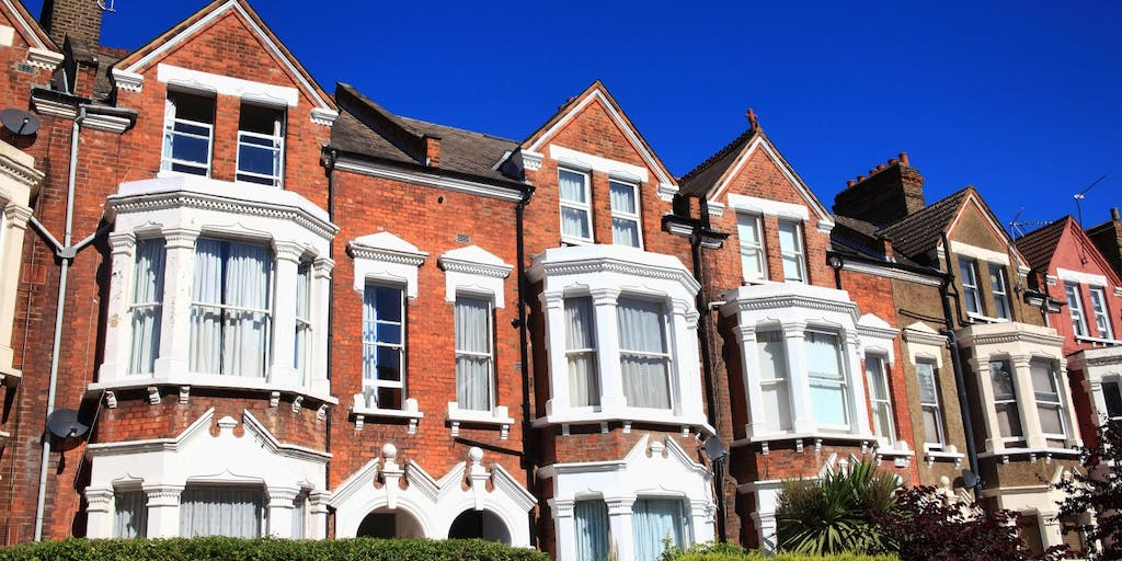 A row of Victorian terrace houses