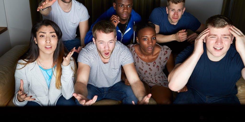 Friends watching tv