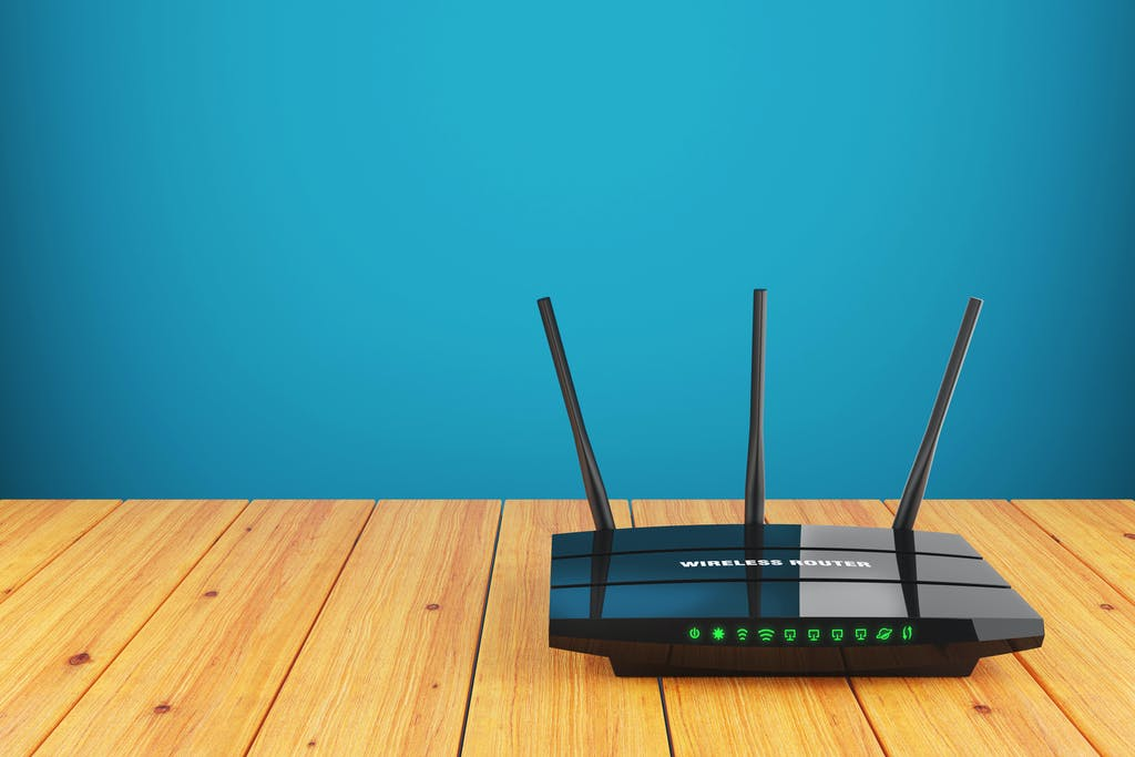 A wireless router on a table