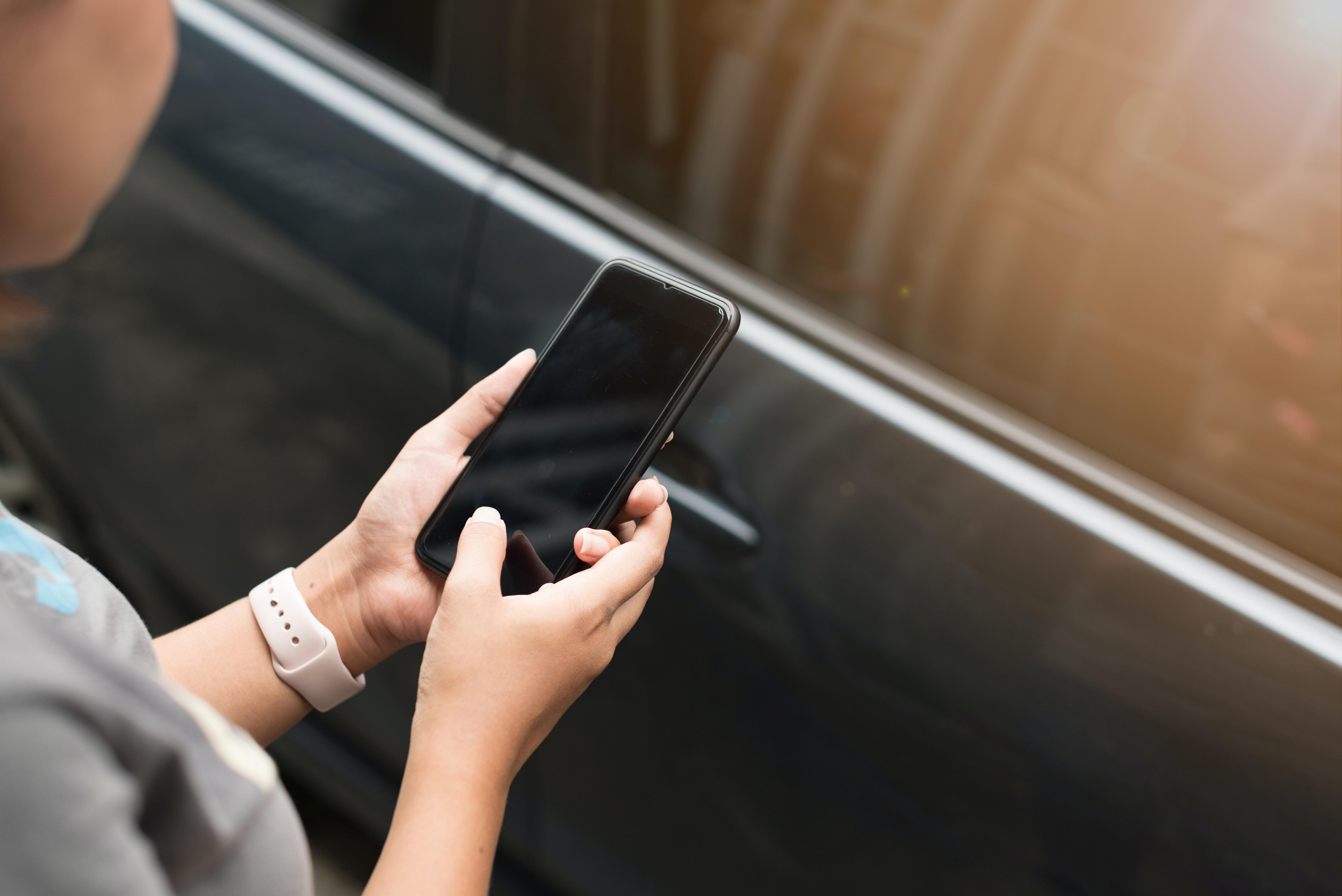Woman using unlocked phone