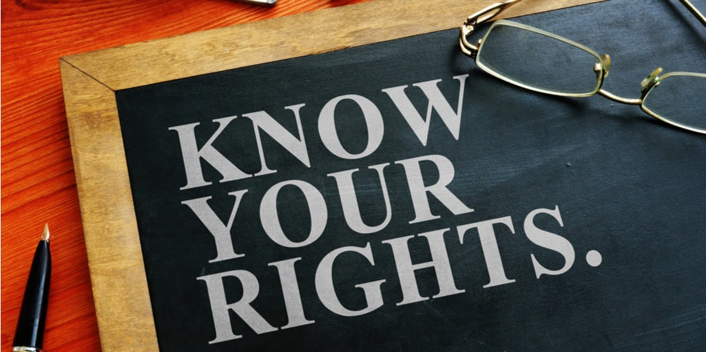 "Image of blackboard with text reading ""know your rights"""