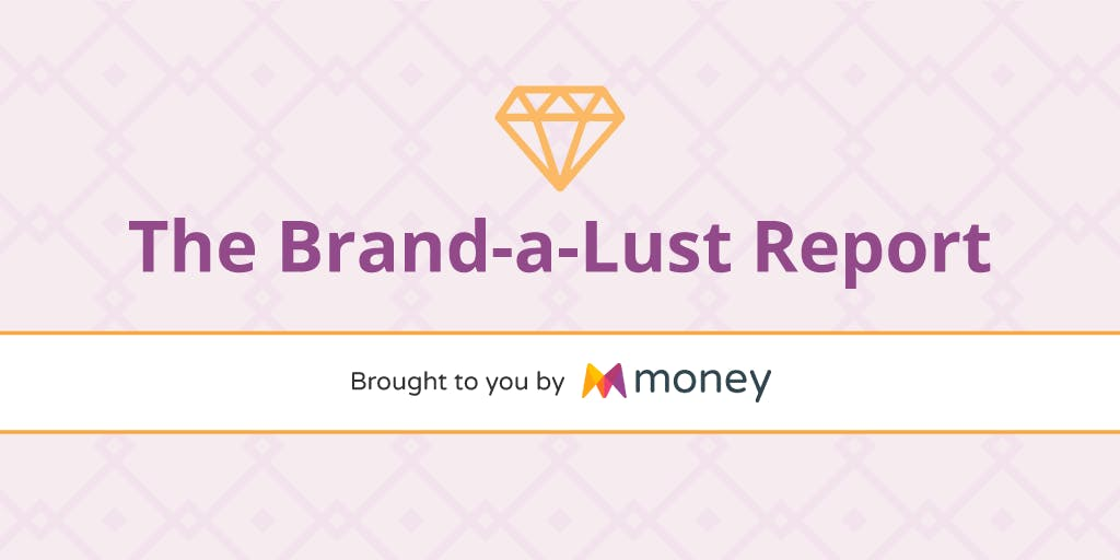 A lilac background with a gold diamond graphic which reads: The Brand-a-Lust Report - brought to you by Money