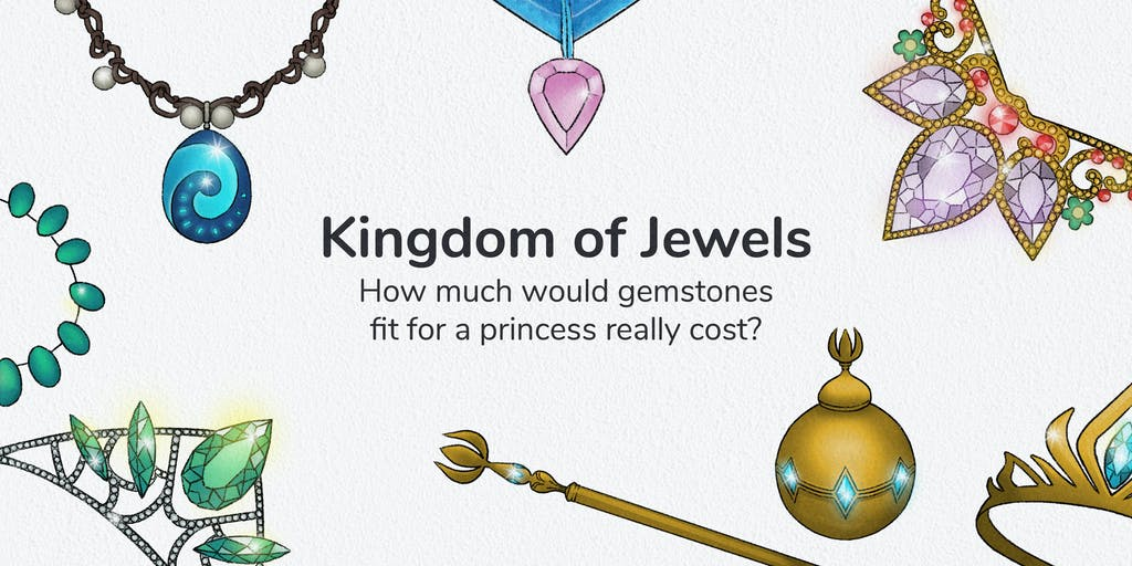 Graphic with jewellery around the edge with a title which reads: Kingdom of jewels; how much would gemstones fit for a princess really cost?