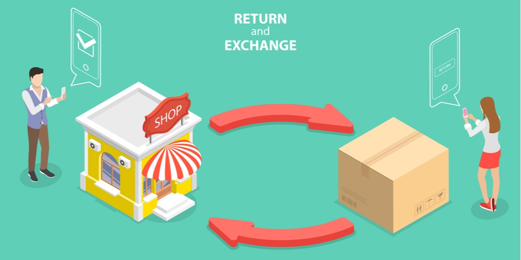 A graphic illustrating the returns process between store and customer