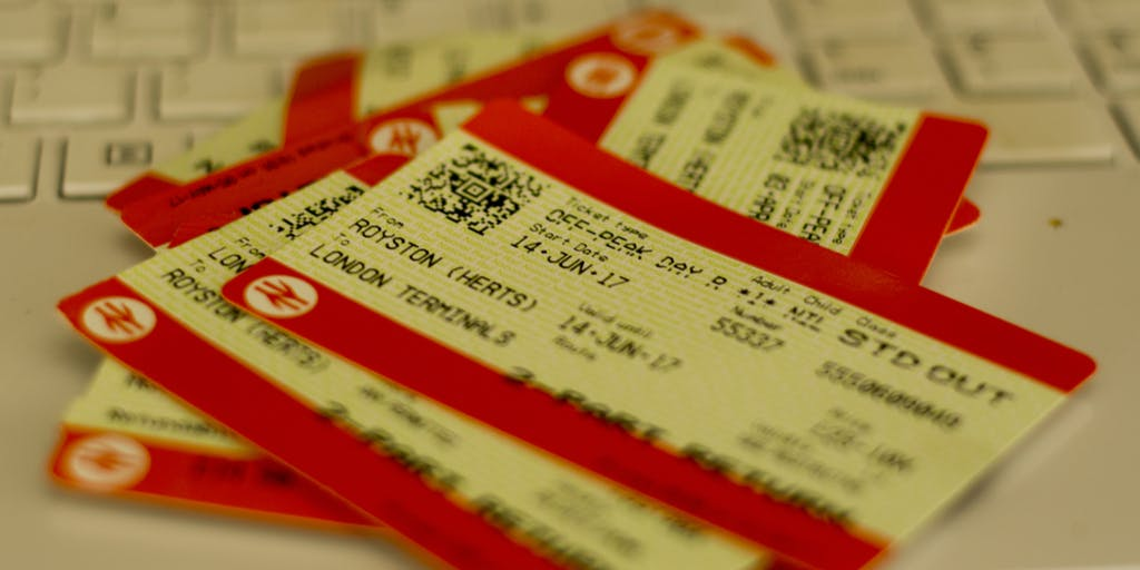 Train tickets piled up