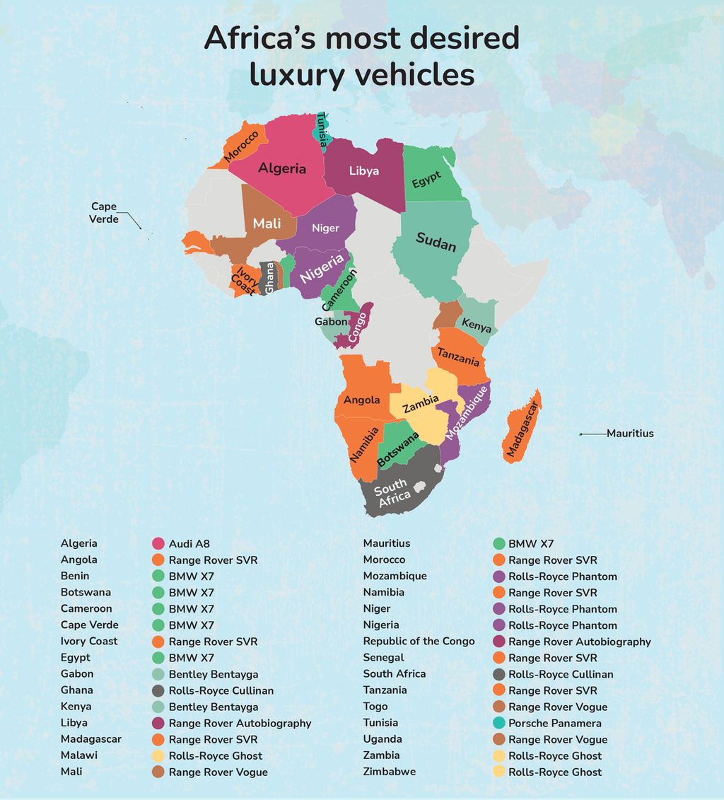 Map graphic - Africa's most desired luxury vehicle.