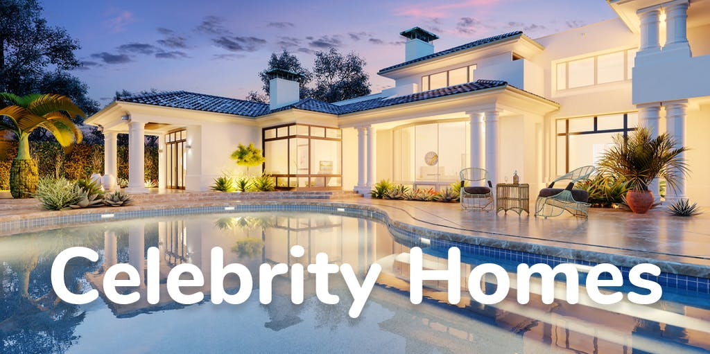 Photograph of a villa with a swimming pool and overlay text reading Celebrity Homes