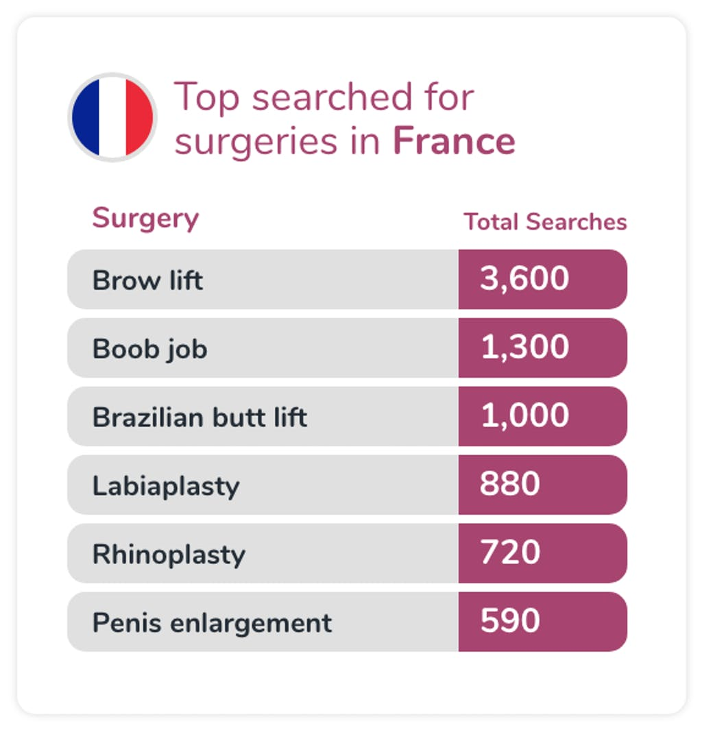 Most searched for surgeries in France
