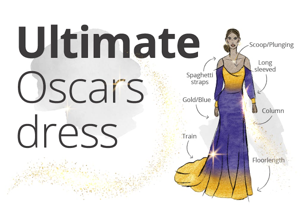 A graphic of the ultimate Oscars dress.