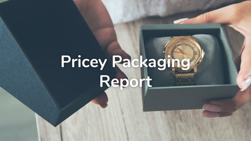 Photo of a watch with packaging and a title reading Pricey Packaging Report