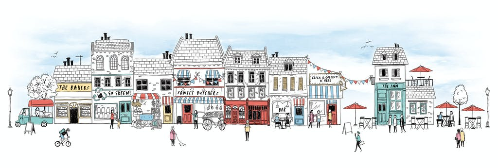 An illustration of a future high street which includes the bakers, a sustainable shop, a family butchers, a click-and-collect store, and al fresco dining.