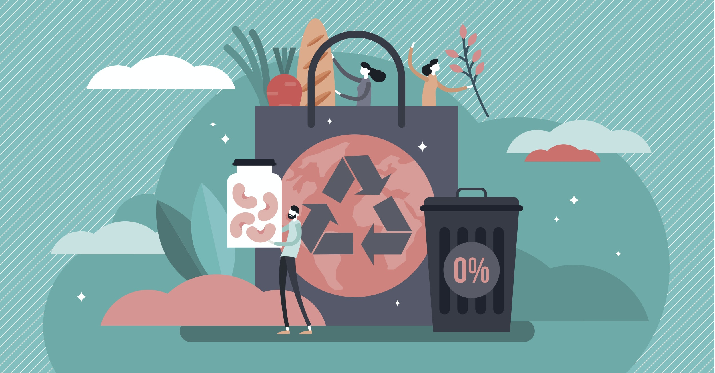 A graphic showing a large shopping bag with the recycling logo in centre, a rubbish bin with 0% annotated, and 3 people holding plastic-free food.