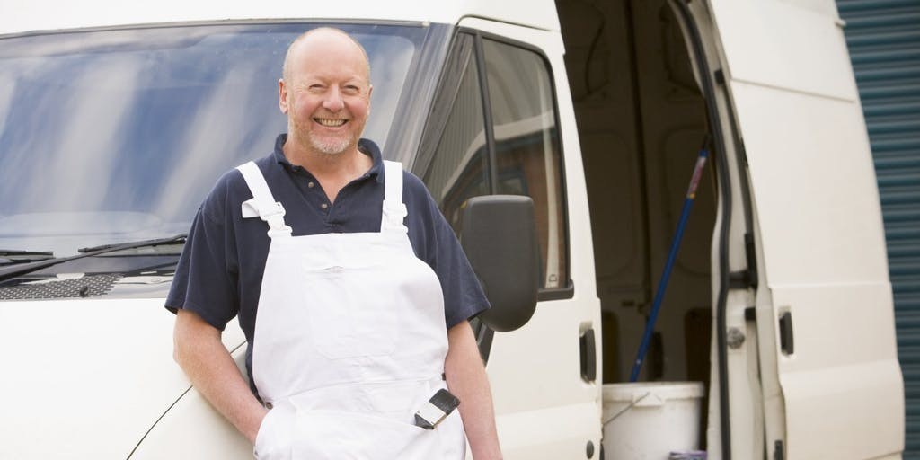Man standing by van