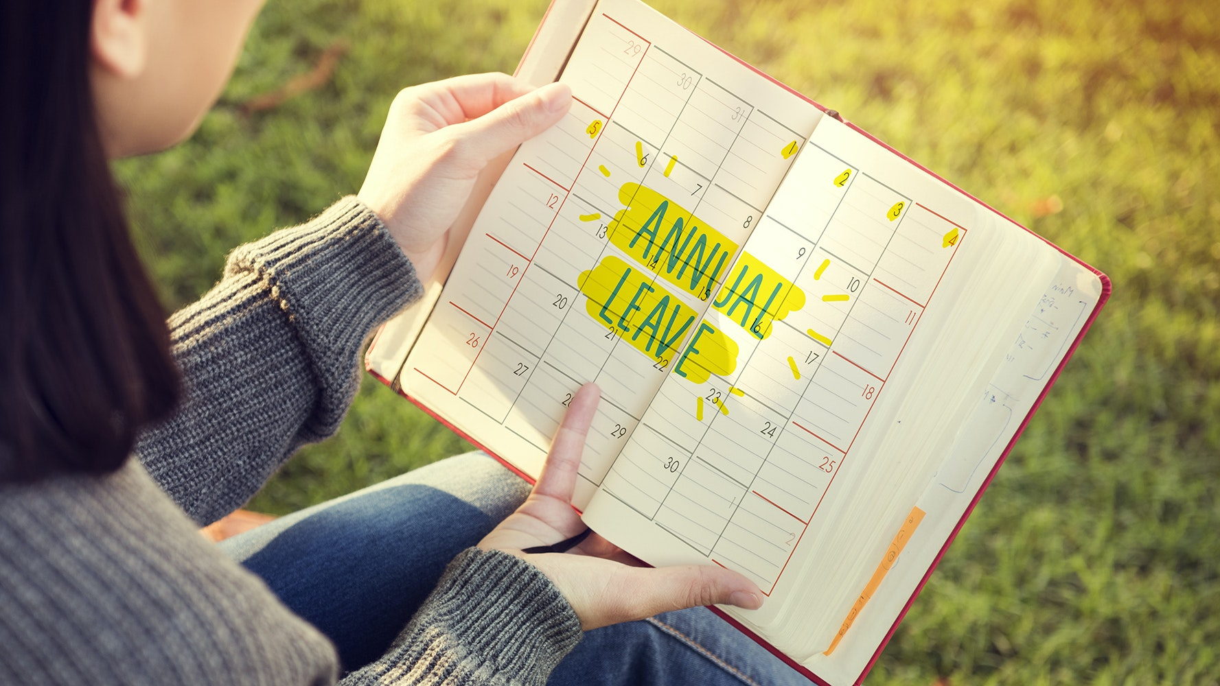 Photo of calendar or diary with annual leave highlighted