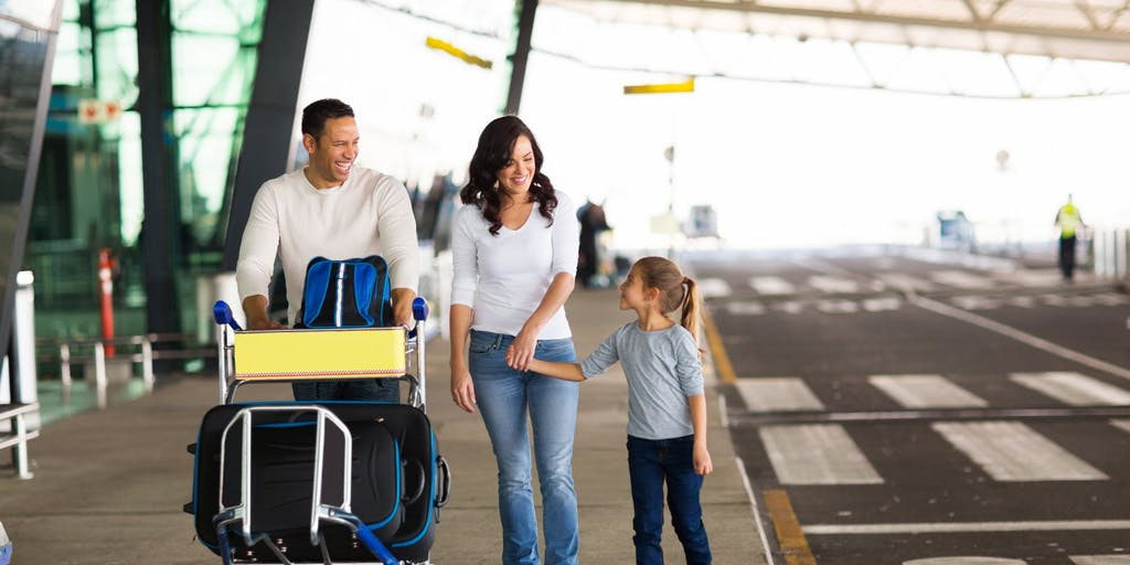 Young family at airport