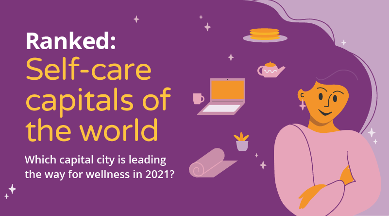 """A graphic with a woman which reads """"Ranked: Self-care capitals of the world revealed for 2021""""."""