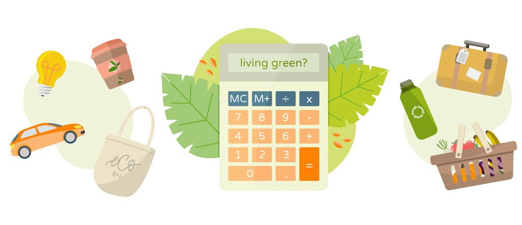 Illustration of a green calculator with images of cars, lightbulbs, reusable coffee cups and water bottles