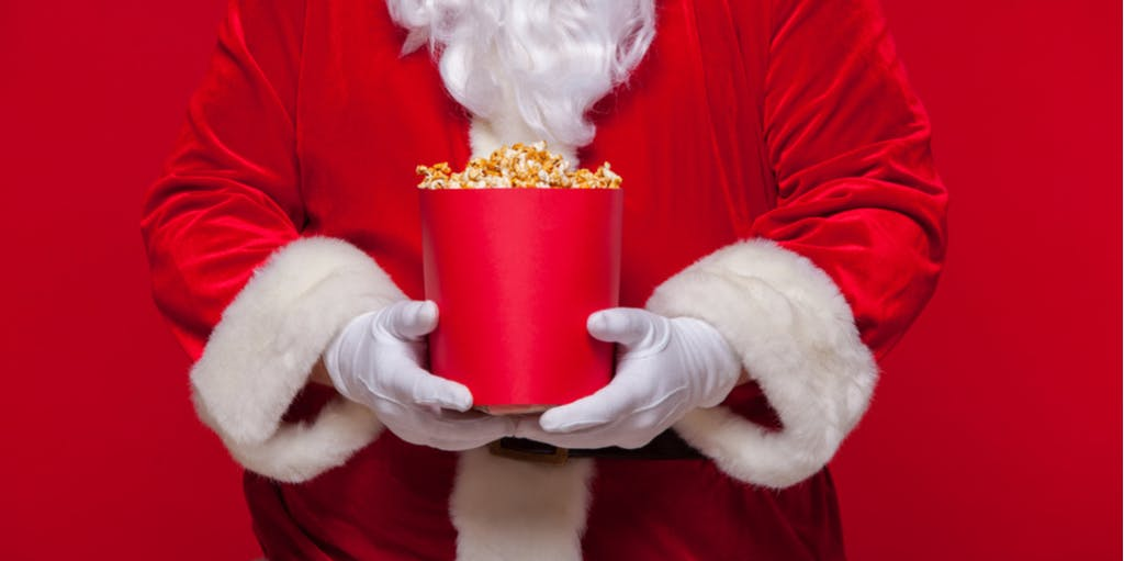 Image of Santa holding popcorn